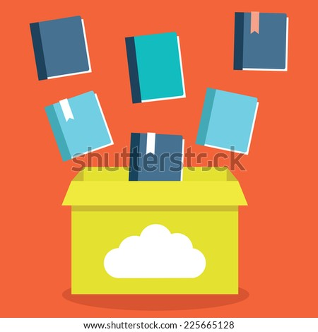 Vector flat illustration of e-books storage in cloud. Process of transfer books to a cloud network server. Electronic subscription as business model - vector illustration - stock vector