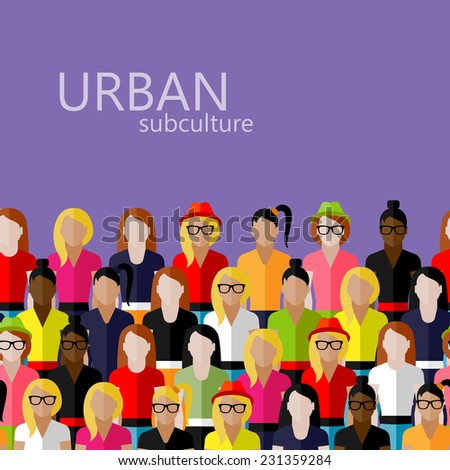vector flat  illustration of female community with a large group of girls and women. urban subculture concept - stock vector