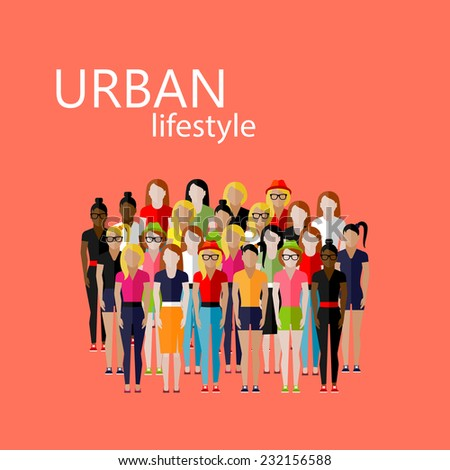 vector flat  illustration of female community with a large group of girls and women. urban lifestyle concept - stock vector