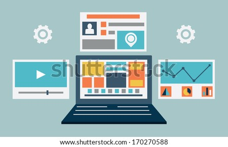 Vector flat illustration of laptop content rendering page - vector illustration - stock vector