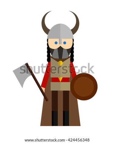 Vector flat illustration of man with axe on white background. Element for design.