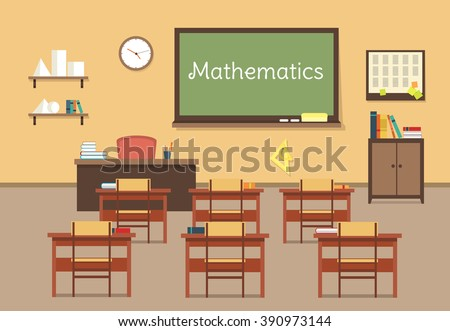 Vector flat illustration of mathematic classroom at the school, university, institute, college. Desks with books rulers, prism, pyramid, table, barrel. Lesson for diploma, teaching and learning - stock vector