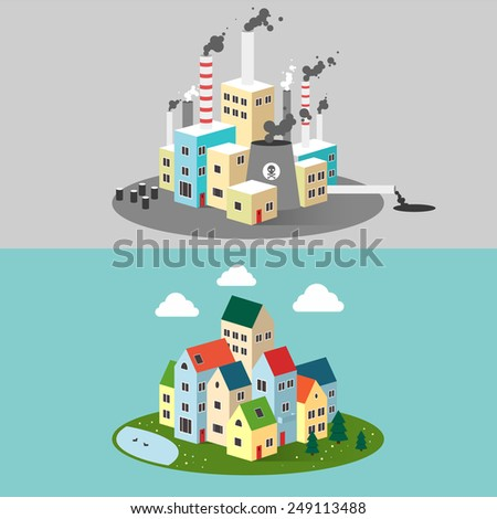 Vector flat illustration of pollution and eco-friendly landscapes. Ecology, environmental protection, green energy, village. production, factory, pollution, smoke, urban. Poster, banner. - stock vector