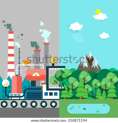 Vector flat illustration of pollution and eco-friendly landscapes. Ecology, environmental protection, green energy, production, factory, pollution, urban. Factory monster eating nature. Poster, banner - stock vector