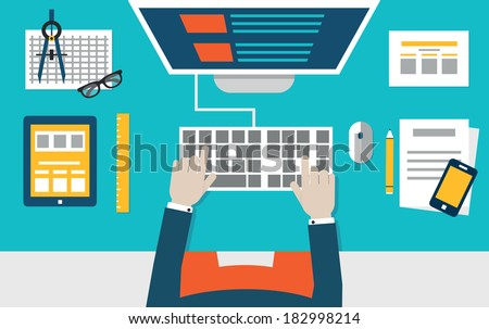 Vector flat illustration of process coding and programming mobile applications for devices. Design and programming - vector illustration - stock vector