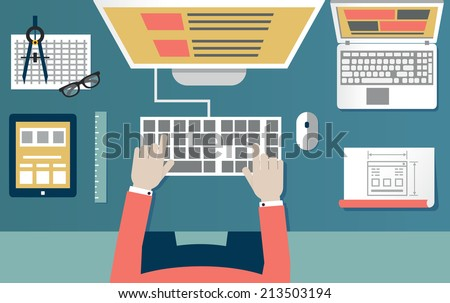 Vector flat illustration of process programming and coding. Web development and equipment - vector illustration - stock vector