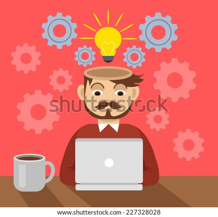 Vector flat illustration of programmer - stock vector