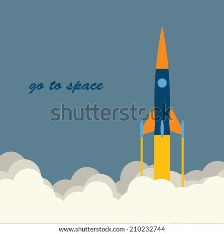 Vector flat illustration of rockets flying in the sky to the cloud.Space tourism,exploration, travel to the orbit, NASA missiles,toy cartoon rockets.Concept of modern successful startup, project start - stock vector