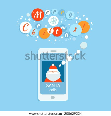 Vector flat illustration of Santa calling on phone - stock vector