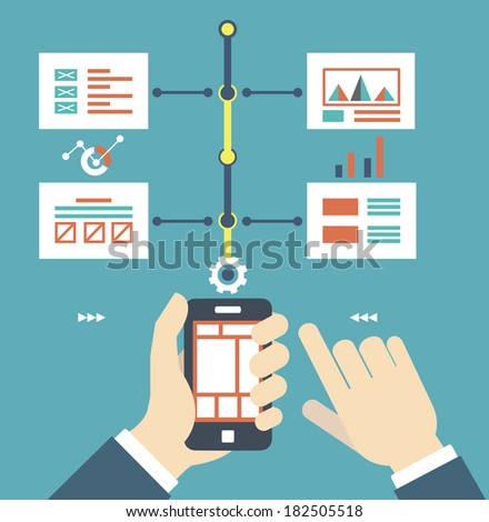 Vector flat illustration of smartphone with wireframe pages. Content and work - vector illustration - stock vector