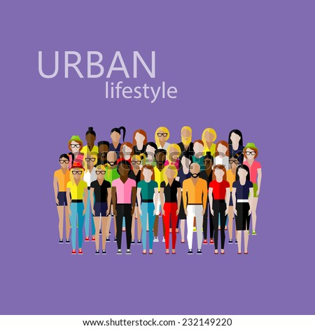 vector flat  illustration of society members with a large group of men and women. population. urban lifestyle concept - stock vector