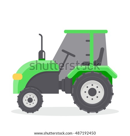 Vector flat illustration of tractors. Agricultural machinery. Cab green tractor.