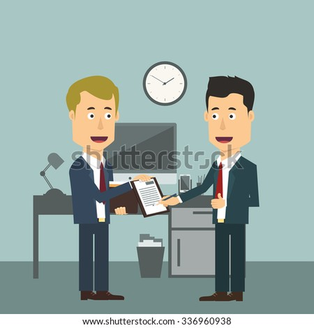 Vector flat illustration of two businessmen making (signing, sealing) the deal. Successful agreement for both workers in suits. Approving or allowing business plan. - stock vector