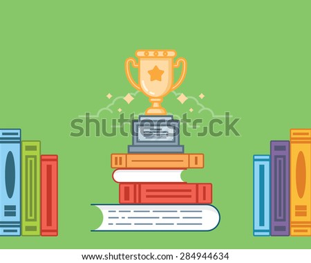 Vector flat illustration of winning trophy cup standing on the books on a green background.  - stock vector