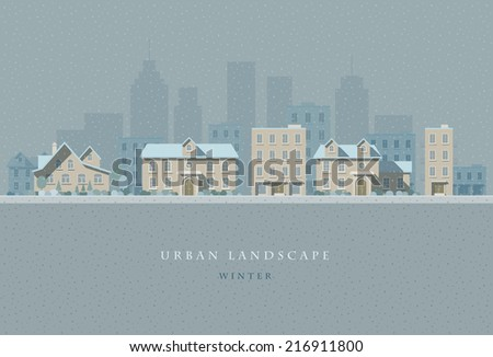 Vector flat illustration of winter snowly city landscape. Elements are layered separately in vector file. Easy editable.  - stock vector