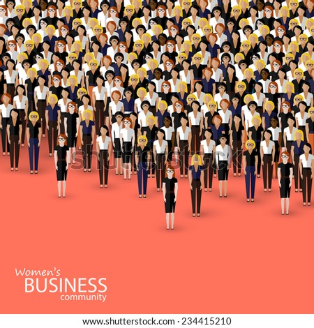 vector flat illustration of women business community. a crowd of women (business women or politicians). - stock vector