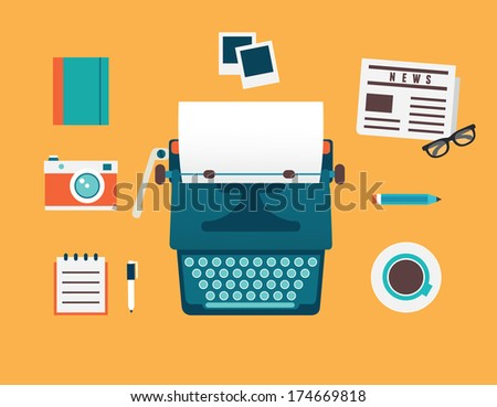 Vector flat illustration of workplace of typewriter with documents and equipment for blog. Old journalism theme - vector illustration - stock vector