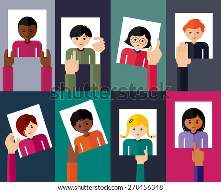 Vector flat illustration of young people. Colorful flat design set of hands holding avatars of girls and boys. Vector illustration. Group of young people. - stock vector