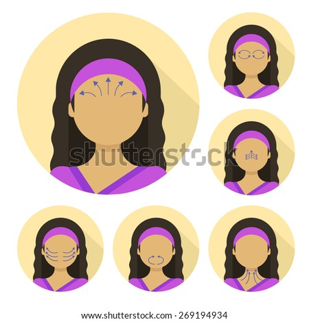 Vector flat illustration on circle sticker: face massage instruction demonstrated on young beautiful hindu woman in purple clothes - stock vector