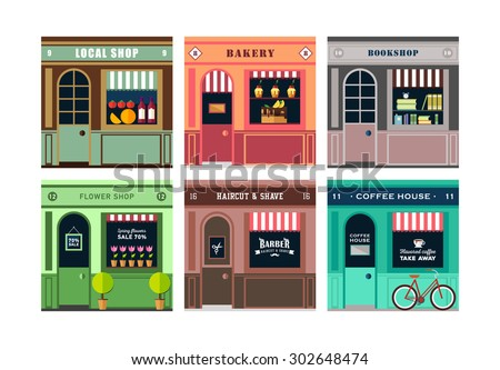 Vector flat  illustration on multiple small shop and store facades. Different small business stores and shops. Barber, flowers, local shops, coffee house, cafe. Food store - stock vector