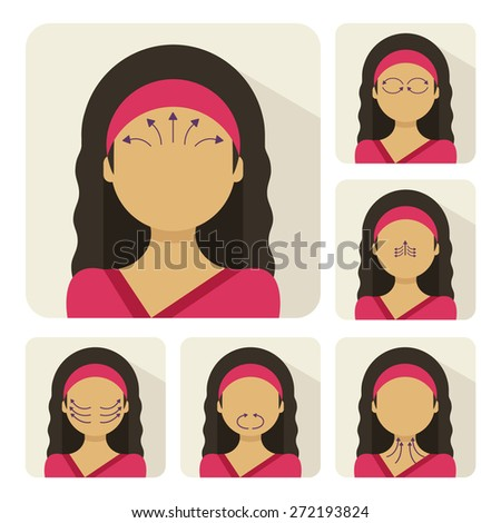 Vector flat illustration on sticker: face massage instruction demonstrated on young beautiful hindu woman in red clothes - stock vector