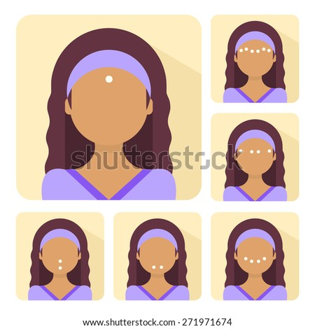Vector flat illustration on sticker: facial acupressure instruction demonstrated on young beautiful latina woman - stock vector