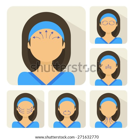 Vector flat illustration on stickers: face massage instruction demonstrated on young beautiful latina woman in blue clothes - stock vector