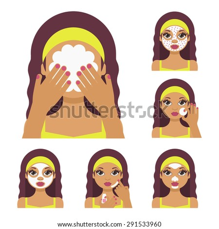 Vector flat illustration: Set on six beautiful latina  models with different spa beauty treatments in olive clothes
