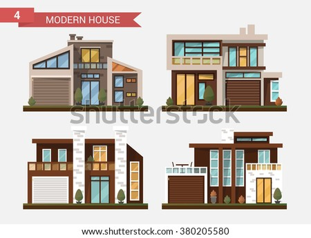 Vector flat illustration traditional and modern house. Family home. Office building. Private pavement, backyard with garage. Office architecture with beautiful plants and bushes. - stock vector