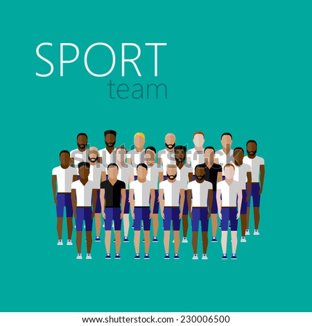 vector flat illustration with men group or community wearing sport uniform. sport team  - stock vector