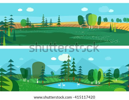 Vector flat illustrations - Abstract forest. Wildlife. Forest view. Mountain landscape. Ecosystem. Forest lake - stock vector