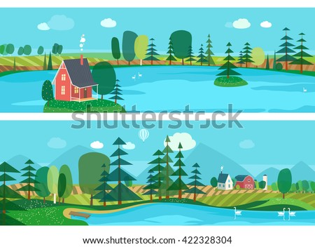 Vector flat illustrations - Eco farm. Abstract forest. Wildlife. Forest view. Mountain landscape. Ecosystem. Forest lake. Agro-tourism. - stock vector