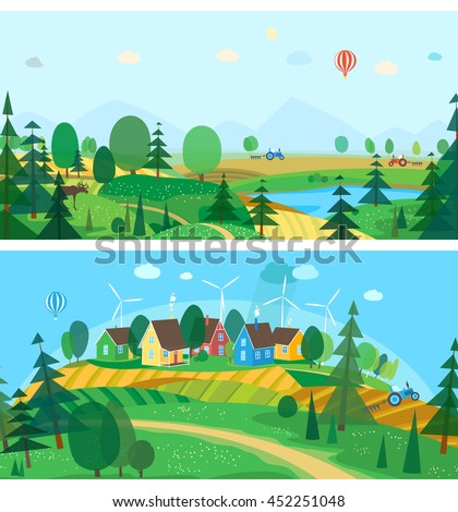 Vector flat illustrations - Eco farm. Abstract forest. Wildlife. Forest view. Mountain landscape. Ecosystem. Forest lake.