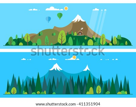 Vector flat illustrations - Eco life. Abstract forest. Wildlife. Forest view.