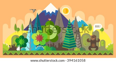 Vector flat illustrations - Eco style life. Abstract forest. Wildlife. Forest view - stock vector