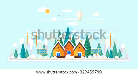 Vector flat illustrations - Eco style life. Eco farm. Green energy. Winter - stock vector