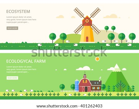 Vector flat illustrations - Eco style life. Mill in the field. Environmental farm breeding sheep.