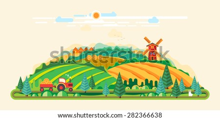 Vector flat illustrations - Eco style life, Windmill in the field - stock vector
