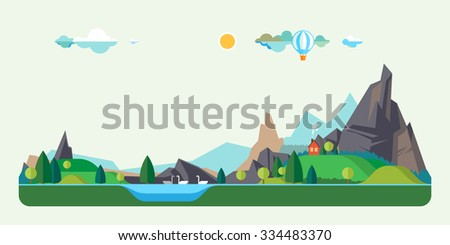Vector flat illustrations. House in a mountain lake. Baloon flight - stock vector