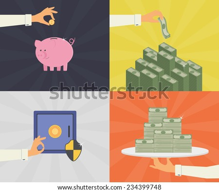 Vector flat illustrations set of money savings, bank deposit, and safe protection - stock vector