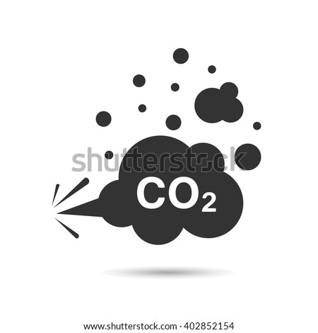 Vector flat image. carbon dioxide, co 2 ,cloud, smog - stock vector