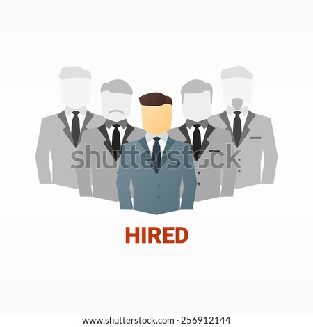 Vector flat image of business people. Hiring competition concept - stock vector