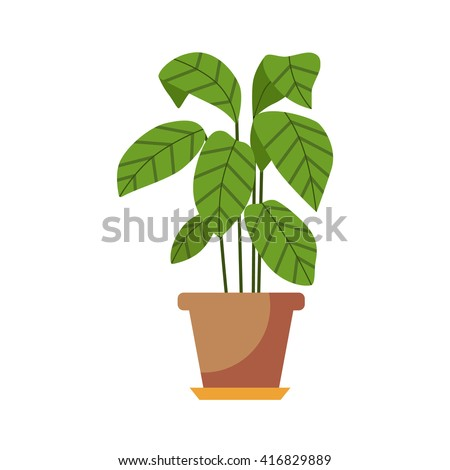 Vector flat indoor plant pot illustration stock vector 416829889 shutterstock - Indoor colorful plants ...