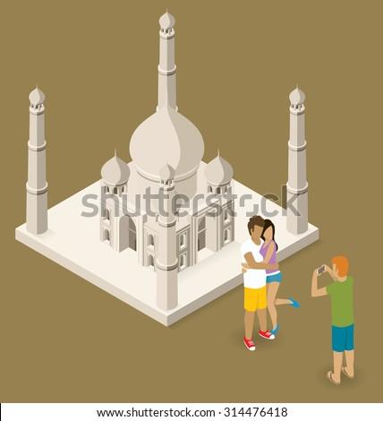 Vector flat isometric couple making selfie near the Taj Mahal - stock vector