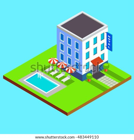 vector flat isometric hotel building with swimming pool