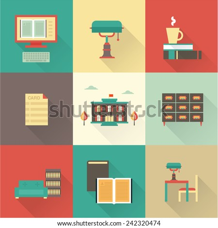 vector flat library icons - stock vector