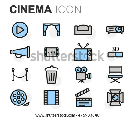 Vector flat line cinema icons set on white background