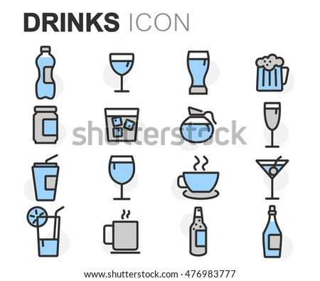 Vector flat line drinks icons set on white background