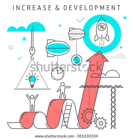Vector flat line illustration represent increase business from idea to profit. Growth concept development process of  investing time, ideas, technologies, solutions, knowledge to make money. - stock vector