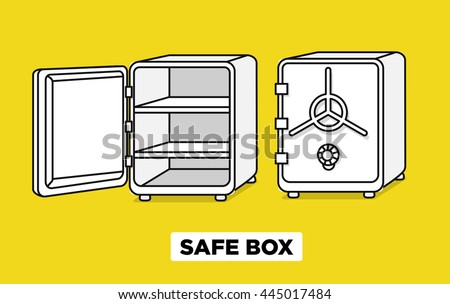 Vector flat line safe boxes open and closed, locked with code lock, empty safe box. Hand drawn illustration. Isometric view - stock vector